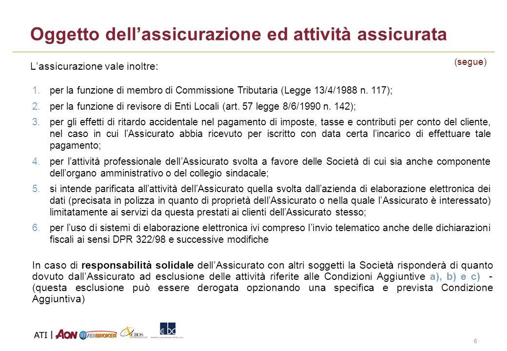 6 Oggetto dellassicurazione ed attività assicurata Lassicurazione vale inoltre: 1.per la funzione di membro di Commissione Tributaria (Legge 13/4/1988