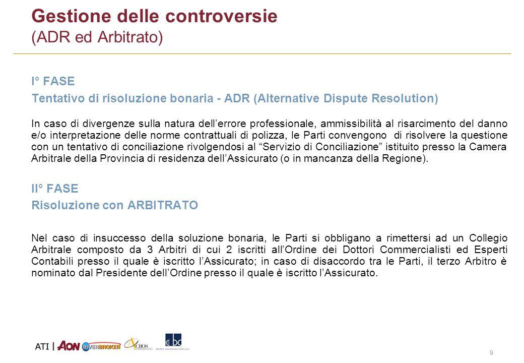 9 Gestione delle controversie (ADR ed Arbitrato) I° FASE Tentativo di risoluzione bonaria - ADR (Alternative Dispute Resolution) In caso di divergenze