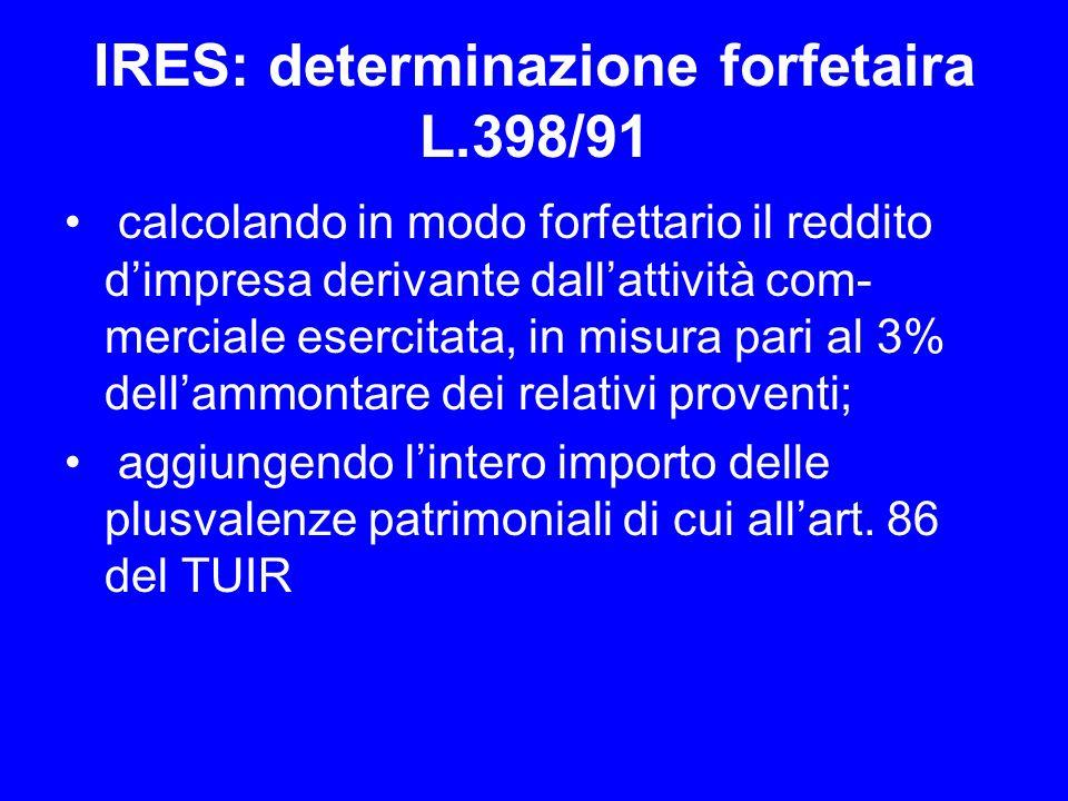 IRES: determinazione forfetaira L.398/91 calcolando in modo forfettario il reddito dimpresa derivante dallattività com merciale esercitata, in misura