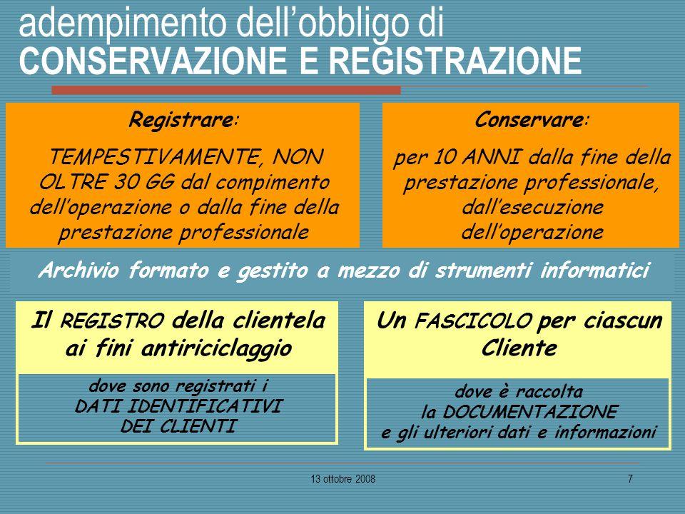13 ottobre 20087 adempimento dellobbligo di CONSERVAZIONE E REGISTRAZIONE Registrare: TEMPESTIVAMENTE, NON OLTRE 30 GG dal compimento delloperazione o