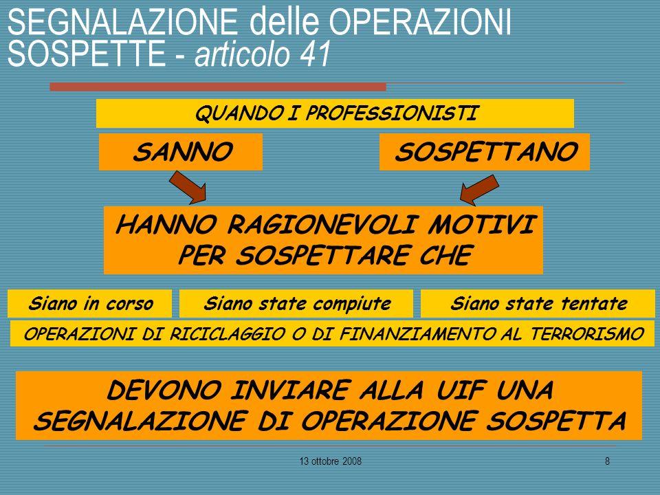 13 ottobre 20088 SEGNALAZIONE delle OPERAZIONI SOSPETTE - articolo 41 QUANDO I PROFESSIONISTI SANNO HANNO RAGIONEVOLI MOTIVI PER SOSPETTARE CHE SOSPET