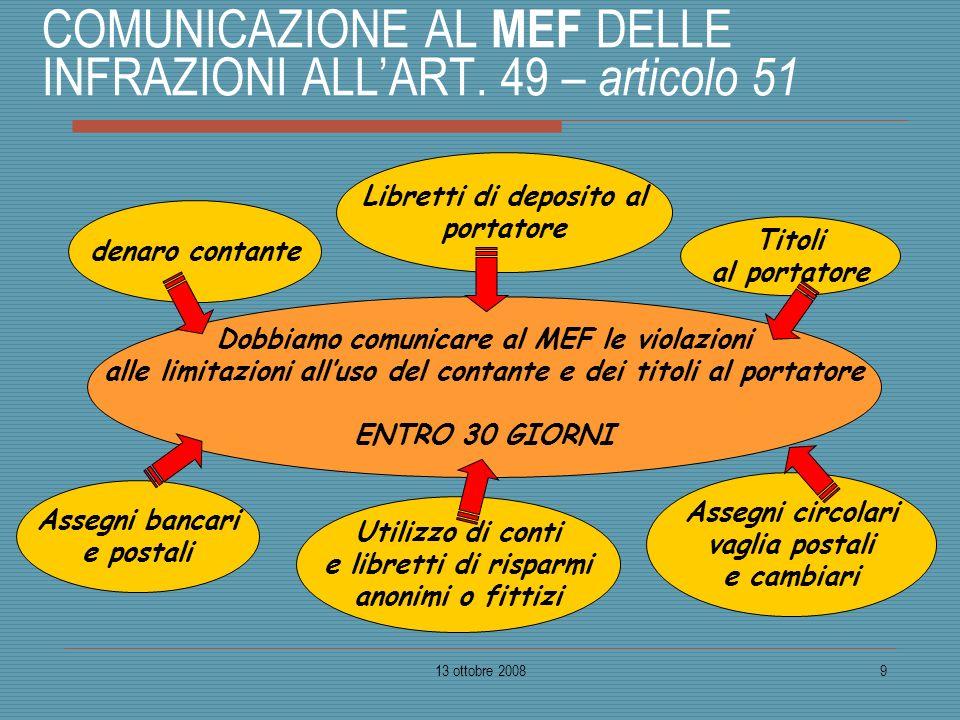 13 ottobre 20089 COMUNICAZIONE AL MEF DELLE INFRAZIONI ALLART. 49 – articolo 51 denaro contante Titoli al portatore Dobbiamo comunicare al MEF le viol