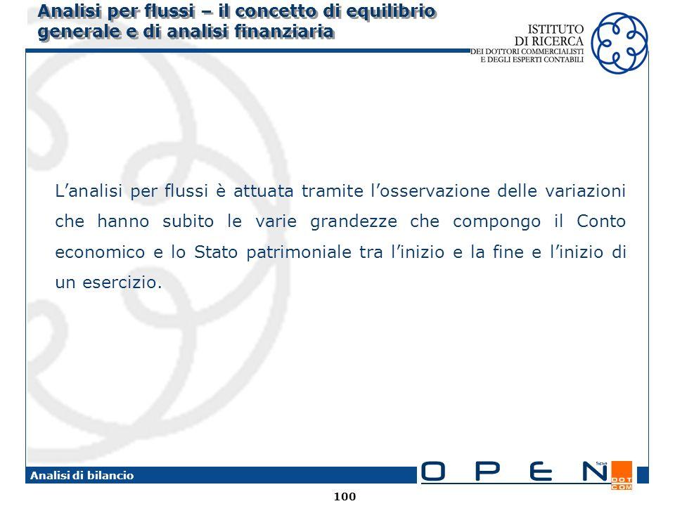 100 Analisi di bilancio Analisi per flussi – il concetto di equilibrio generale e di analisi finanziaria Lanalisi per flussi è attuata tramite losserv