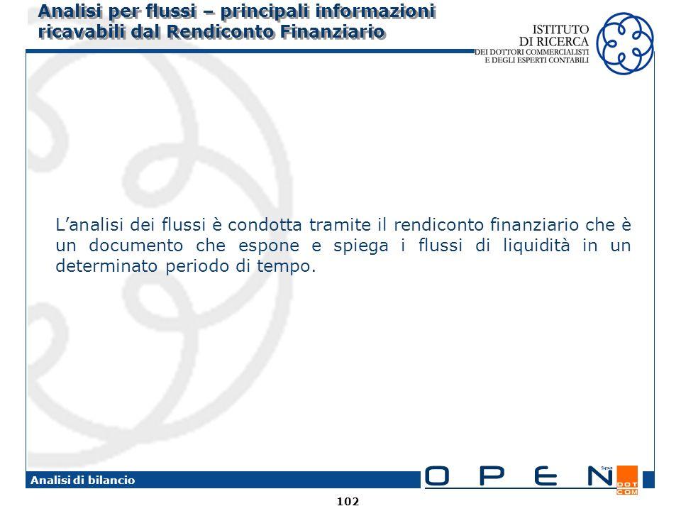 102 Analisi di bilancio Analisi per flussi – principali informazioni ricavabili dal Rendiconto Finanziario Lanalisi dei flussi è condotta tramite il r