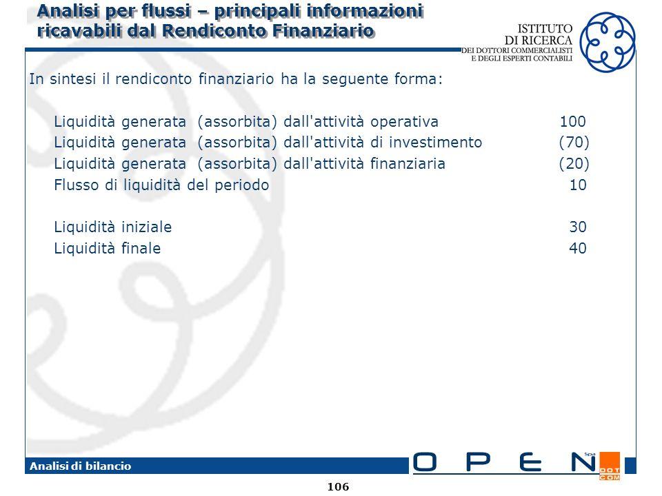 106 Analisi di bilancio Analisi per flussi – principali informazioni ricavabili dal Rendiconto Finanziario In sintesi il rendiconto finanziario ha la