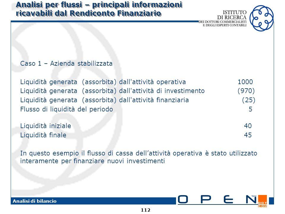 112 Analisi di bilancio Analisi per flussi – principali informazioni ricavabili dal Rendiconto Finanziario Caso 1 – Azienda stabilizzata Liquidità gen