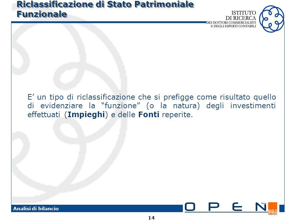 14 Analisi di bilancio Riclassificazione di Stato Patrimoniale Funzionale E un tipo di riclassificazione che si prefigge come risultato quello di evid