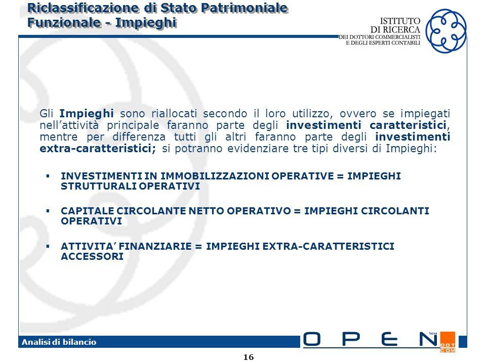 16 Analisi di bilancio Riclassificazione di Stato Patrimoniale Funzionale - Impieghi Gli Impieghi sono riallocati secondo il loro utilizzo, ovvero se impiegati nellattività principale faranno parte degli investimenti caratteristici, mentre per differenza tutti gli altri faranno parte degli investimenti extra-caratteristici; si potranno evidenziare tre tipi diversi di Impieghi: INVESTIMENTI IN IMMOBILIZZAZIONI OPERATIVE = IMPIEGHI STRUTTURALI OPERATIVI CAPITALE CIRCOLANTE NETTO OPERATIVO = IMPIEGHI CIRCOLANTI OPERATIVI ATTIVITA FINANZIARIE = IMPIEGHI EXTRA-CARATTERISTICI ACCESSORI