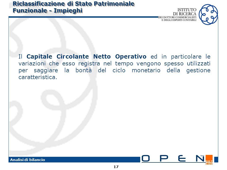 17 Analisi di bilancio Riclassificazione di Stato Patrimoniale Funzionale - Impieghi Il Capitale Circolante Netto Operativo ed in particolare le varia