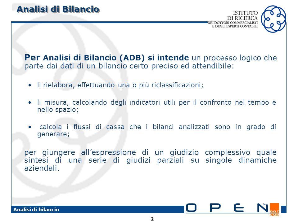 2 Analisi di bilancio Analisi di Bilancio Per Analisi di Bilancio (ADB) si intende un processo logico che parte dai dati di un bilancio certo preciso