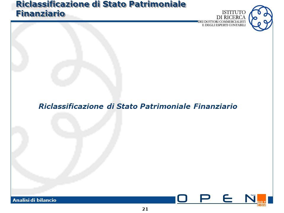 21 Analisi di bilancio Riclassificazione di Stato Patrimoniale Finanziario