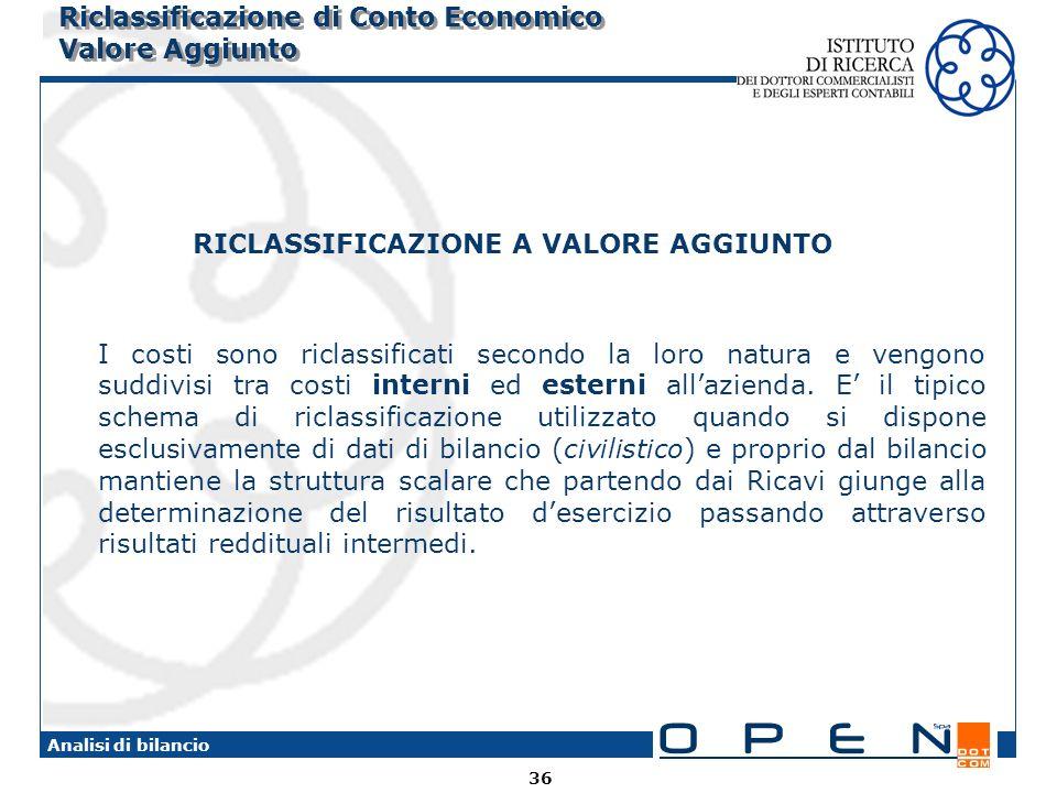 36 Analisi di bilancio Riclassificazione di Conto Economico Valore Aggiunto RICLASSIFICAZIONE A VALORE AGGIUNTO I costi sono riclassificati secondo la loro natura e vengono suddivisi tra costi interni ed esterni allazienda.