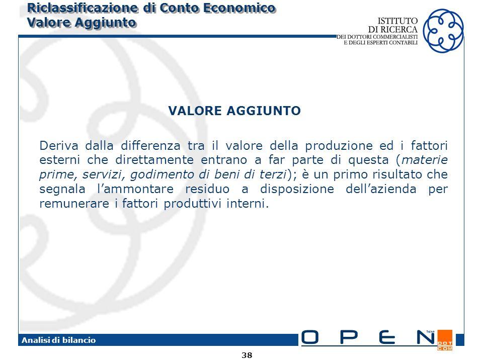 38 Analisi di bilancio Riclassificazione di Conto Economico Valore Aggiunto VALORE AGGIUNTO Deriva dalla differenza tra il valore della produzione ed