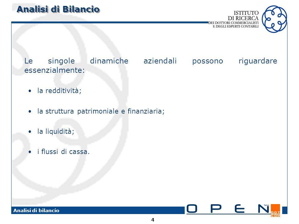 4 Analisi di bilancio Analisi di Bilancio Le singole dinamiche aziendali possono riguardare essenzialmente: la redditività; la struttura patrimoniale