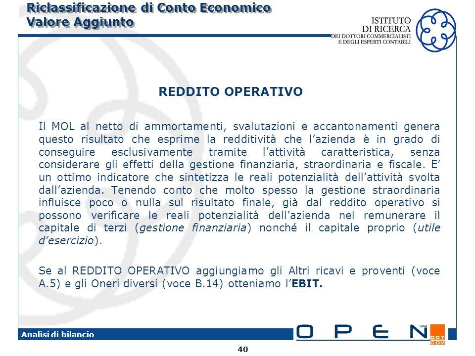 40 Analisi di bilancio Riclassificazione di Conto Economico Valore Aggiunto REDDITO OPERATIVO Il MOL al netto di ammortamenti, svalutazioni e accanton