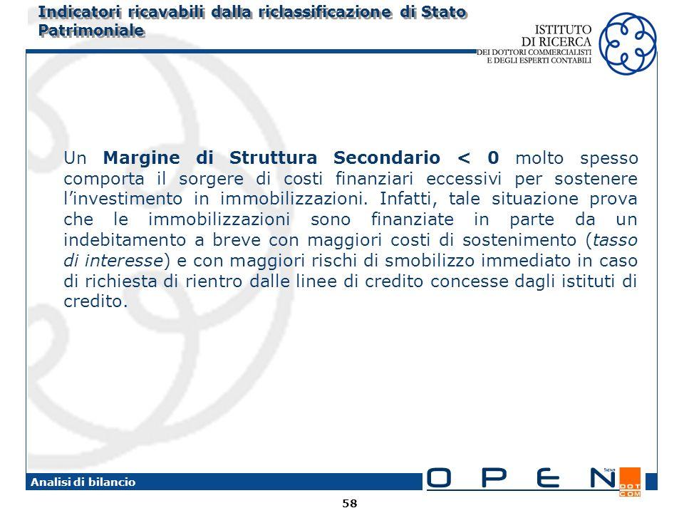 58 Analisi di bilancio Indicatori ricavabili dalla riclassificazione di Stato Patrimoniale Un Margine di Struttura Secondario < 0 molto spesso comport