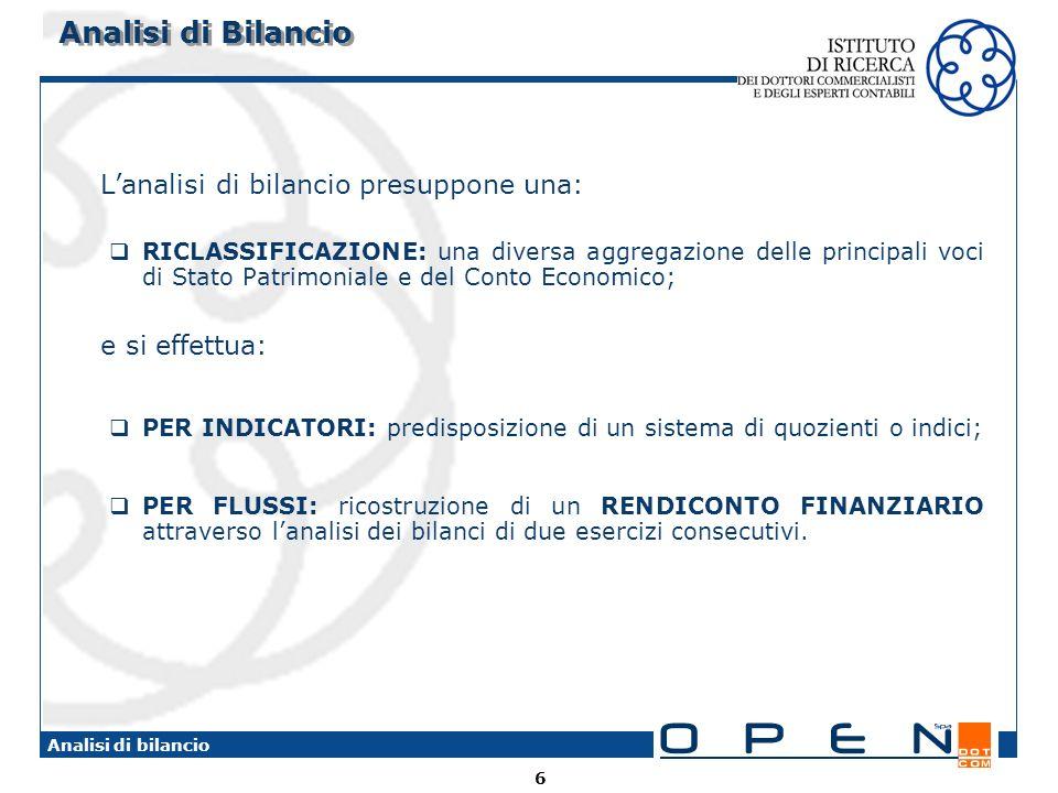 6 Analisi di bilancio Analisi di Bilancio Lanalisi di bilancio presuppone una: RICLASSIFICAZIONE: una diversa aggregazione delle principali voci di St