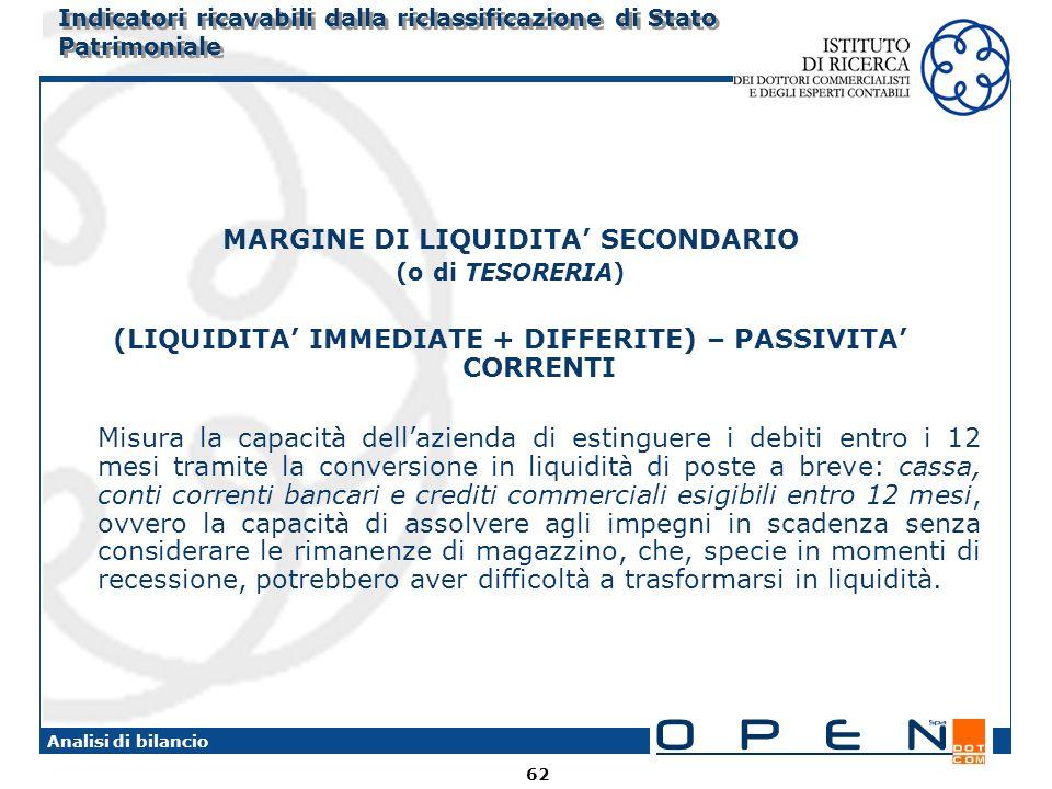 62 Analisi di bilancio Indicatori ricavabili dalla riclassificazione di Stato Patrimoniale MARGINE DI LIQUIDITA SECONDARIO (o di TESORERIA) (LIQUIDITA IMMEDIATE + DIFFERITE) – PASSIVITA CORRENTI Misura la capacità dellazienda di estinguere i debiti entro i 12 mesi tramite la conversione in liquidità di poste a breve: cassa, conti correnti bancari e crediti commerciali esigibili entro 12 mesi, ovvero la capacità di assolvere agli impegni in scadenza senza considerare le rimanenze di magazzino, che, specie in momenti di recessione, potrebbero aver difficoltà a trasformarsi in liquidità.