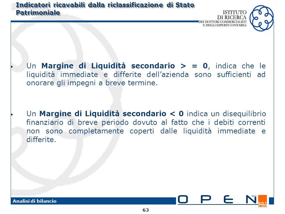 63 Analisi di bilancio Indicatori ricavabili dalla riclassificazione di Stato Patrimoniale Un Margine di Liquidità secondario > = 0, indica che le liquidità immediate e differite dellazienda sono sufficienti ad onorare gli impegni a breve termine.
