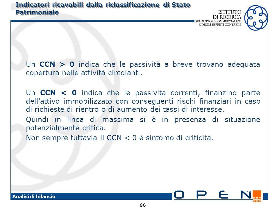 66 Analisi di bilancio Indicatori ricavabili dalla riclassificazione di Stato Patrimoniale Un CCN > 0 indica che le passività a breve trovano adeguata copertura nelle attività circolanti.