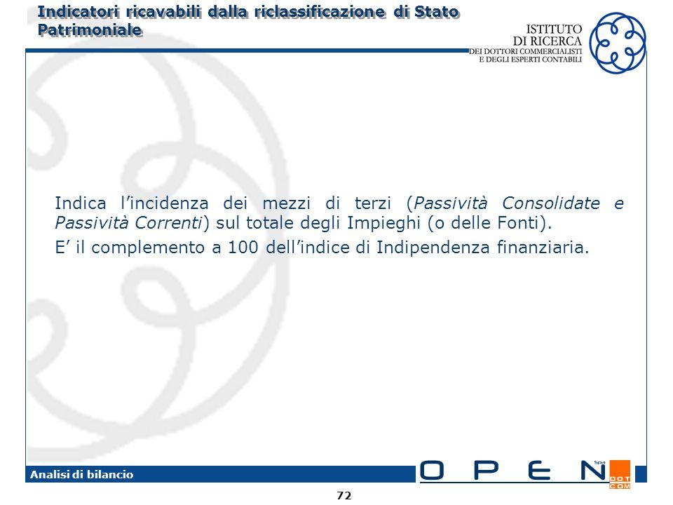 72 Analisi di bilancio Indica lincidenza dei mezzi di terzi (Passività Consolidate e Passività Correnti) sul totale degli Impieghi (o delle Fonti).