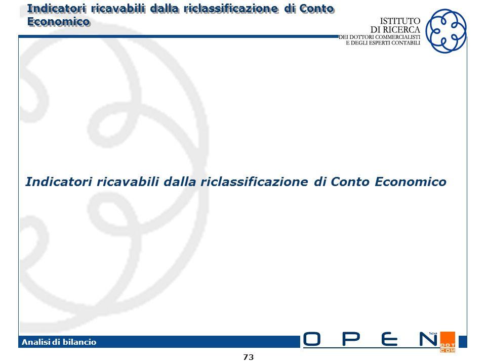 73 Analisi di bilancio Indicatori ricavabili dalla riclassificazione di Conto Economico