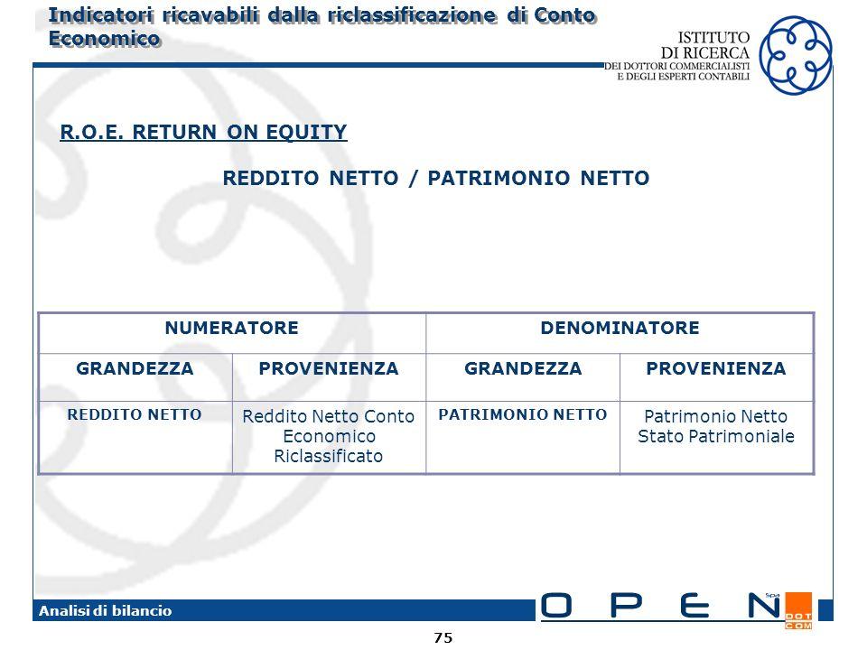 75 Analisi di bilancio R.O.E. RETURN ON EQUITY REDDITO NETTO / PATRIMONIO NETTO NUMERATOREDENOMINATORE GRANDEZZAPROVENIENZAGRANDEZZAPROVENIENZA REDDIT