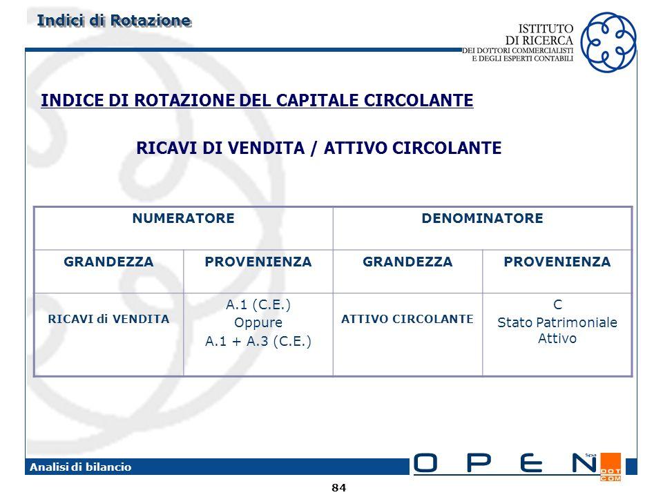 84 Analisi di bilancio INDICE DI ROTAZIONE DEL CAPITALE CIRCOLANTE RICAVI DI VENDITA / ATTIVO CIRCOLANTE NUMERATOREDENOMINATORE GRANDEZZAPROVENIENZAGRANDEZZAPROVENIENZA RICAVI di VENDITA A.1 (C.E.) Oppure A.1 + A.3 (C.E.) ATTIVO CIRCOLANTE C Stato Patrimoniale Attivo Indici di Rotazione