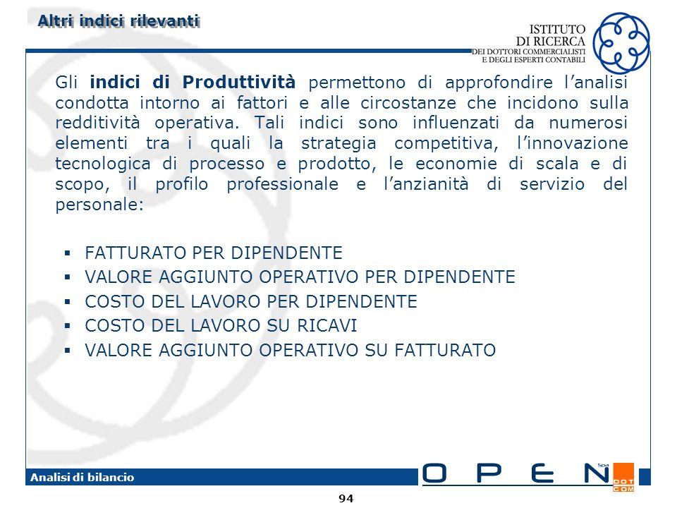 94 Analisi di bilancio Gli indici di Produttività permettono di approfondire lanalisi condotta intorno ai fattori e alle circostanze che incidono sull