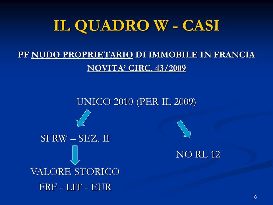8 IL QUADRO W - CASI PF NUDO PROPRIETARIO DI IMMOBILE IN FRANCIA NOVITA CIRC. 43/2009 UNICO 2010 (PER IL 2009) SI RW – SEZ. II NO RL 12 VALORE STORICO