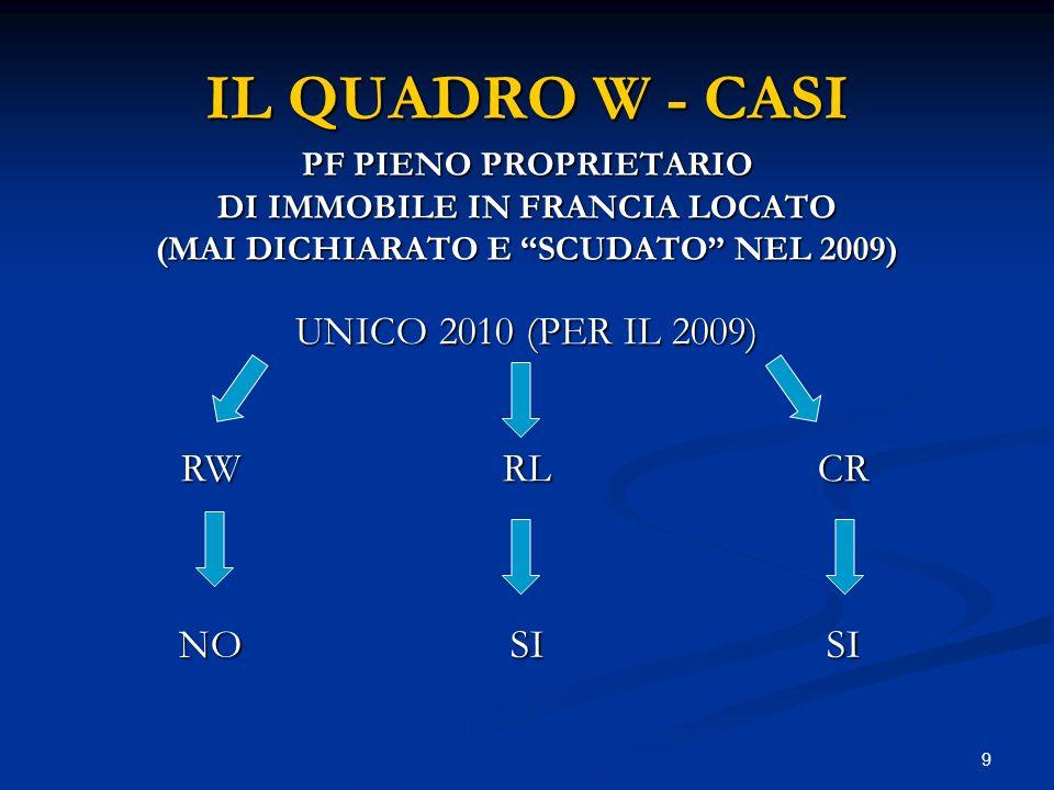 10 IL QUADRO W - CASI IL C/C BANCARIO ALLESTERO DI APPOGGIO INVESTIMENTI COMPRESA GIACENZA SUL C/C ANCHE INFRUTTIFERO (ANCHE SE DI IMPORTI SINGOLI INFERIORI ALLA SOGLIA) > 10.000 SI RW SI RW MOVIMENTAZIONI DI DENARO IN OGNI DIREZIONE (ANCHE SE DI IMPORTI SINGOLI INFERIORI ALLA SOGLIA) > 10.000
