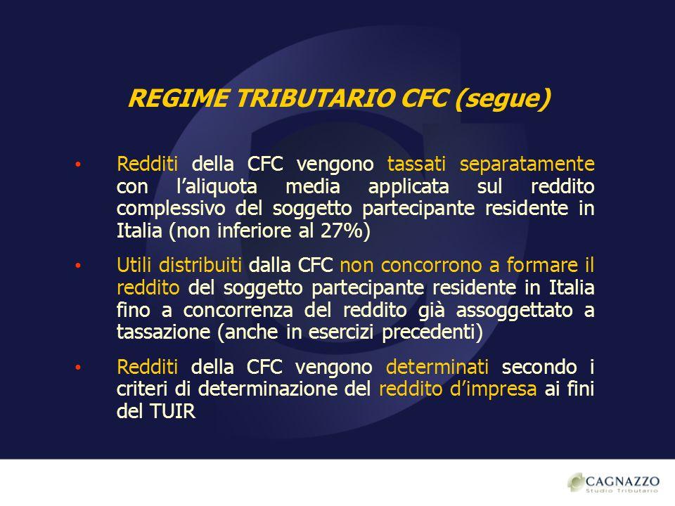 REGIME TRIBUTARIO CFC (segue) Redditi della CFC vengono tassati separatamente con laliquota media applicata sul reddito complessivo del soggetto parte