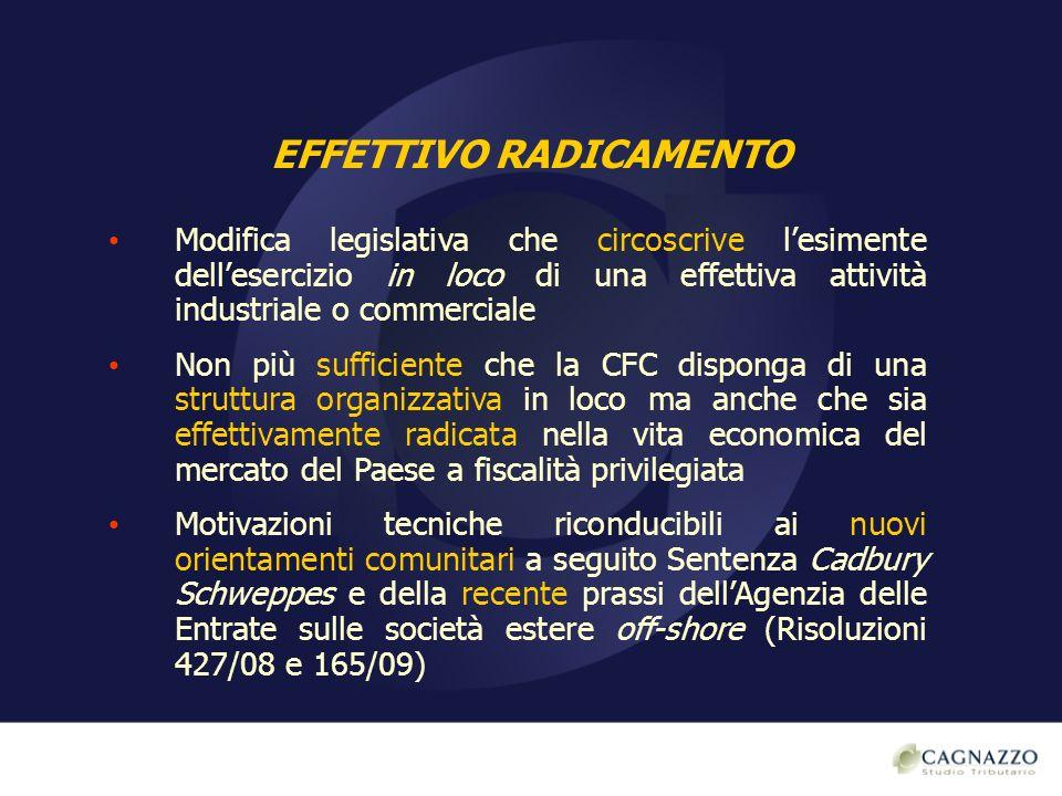 AMPLIAMENTO REGIME CFC Regime CFC è stato esteso anche a imprese, società ed enti controllati localizzati in Paesi a c.d.