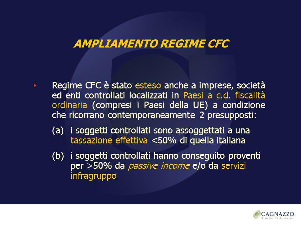 AMPLIAMENTO REGIME CFC Regime CFC è stato esteso anche a imprese, società ed enti controllati localizzati in Paesi a c.d. fiscalità ordinaria (compres