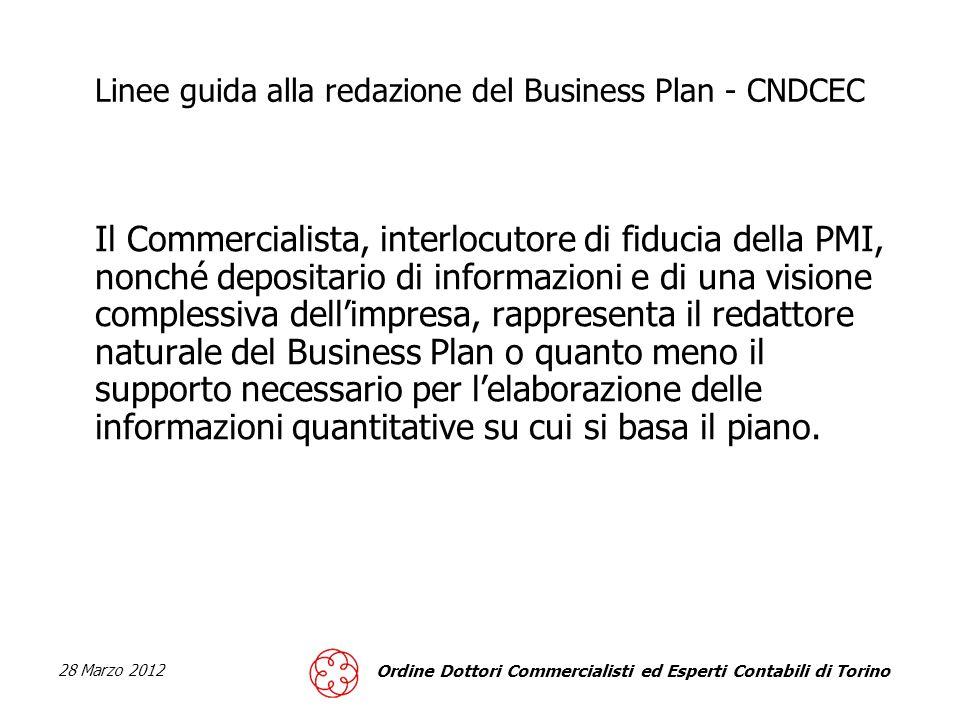 28 Marzo 2012 Ordine Dottori Commercialisti ed Esperti Contabili di Torino Linee guida alla redazione del Business Plan – CNDCEC