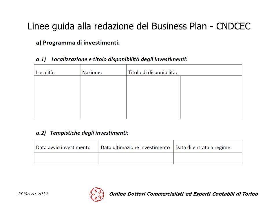 28 Marzo 2012 Ordine Dottori Commercialisti ed Esperti Contabili di Torino Linee guida alla redazione del Business Plan - CNDCEC