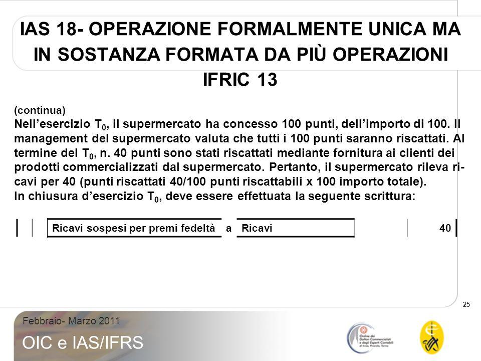 25 Febbraio- Marzo 2011 OIC e IAS/IFRS IAS 18- OPERAZIONE FORMALMENTE UNICA MA IN SOSTANZA FORMATA DA PIÙ OPERAZIONI IFRIC 13 (continua) Nellesercizio T 0, il supermercato ha concesso 100 punti, dellimporto di 100.