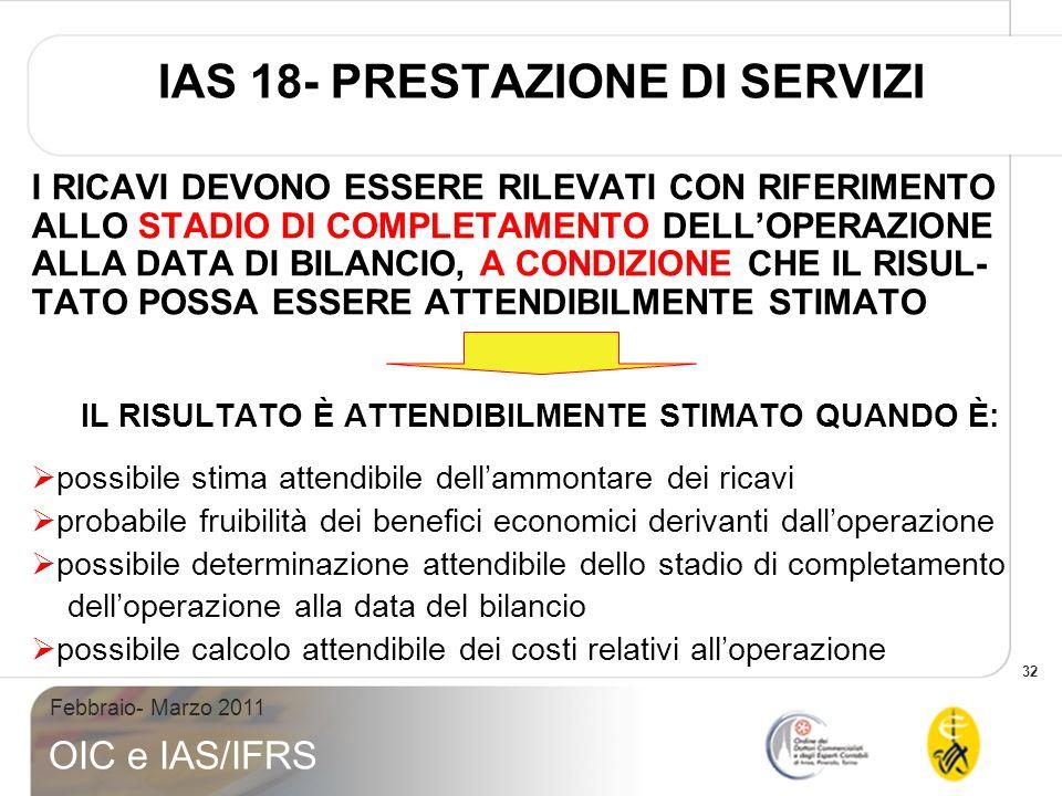 32 Febbraio- Marzo 2011 OIC e IAS/IFRS IAS 18- PRESTAZIONE DI SERVIZI I RICAVI DEVONO ESSERE RILEVATI CON RIFERIMENTO ALLO STADIO DI COMPLETAMENTO DELLOPERAZIONE ALLA DATA DI BILANCIO, A CONDIZIONE CHE IL RISUL- TATO POSSA ESSERE ATTENDIBILMENTE STIMATO IL RISULTATO È ATTENDIBILMENTE STIMATO QUANDO È: possibile stima attendibile dellammontare dei ricavi probabile fruibilità dei benefici economici derivanti dalloperazione possibile determinazione attendibile dello stadio di completamento delloperazione alla data del bilancio possibile calcolo attendibile dei costi relativi alloperazione