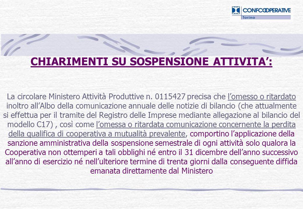 CHIARIMENTI SU SOSPENSIONE ATTIVITA: La circolare Ministero Attività Produttive n.