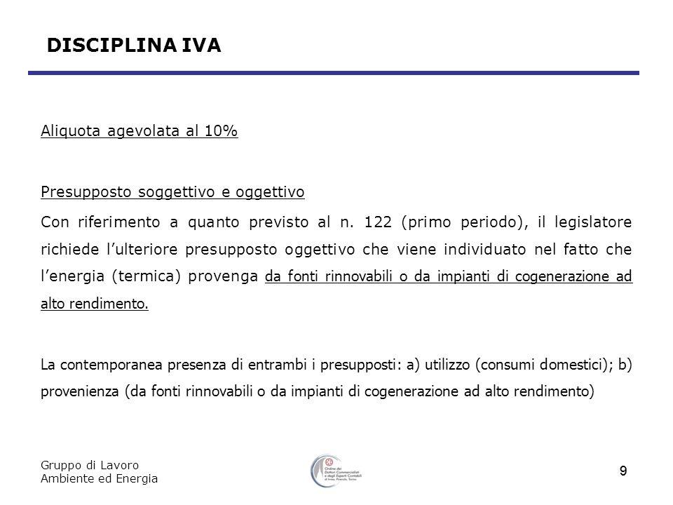 Gruppo di Lavoro Ambiente ed Energia 10 DISCIPLINA IVA Aliquota agevolata al 10% Presupposto oggettivo Nei n.