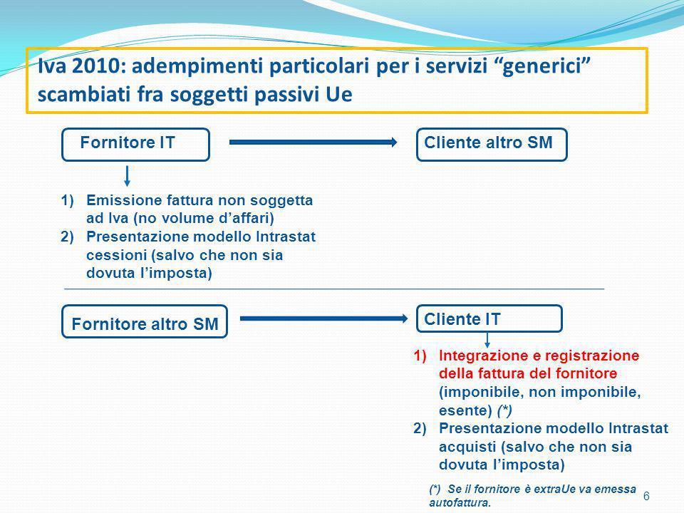 Iva 2010: adempimenti particolari per i servizi generici scambiati fra soggetti passivi Ue 6 Fornitore ITCliente altro SM 1)Emissione fattura non soggetta ad Iva (no volume daffari) 2)Presentazione modello Intrastat cessioni (salvo che non sia dovuta limposta) 1)Integrazione e registrazione della fattura del fornitore (imponibile, non imponibile, esente) (*) 2)Presentazione modello Intrastat acquisti (salvo che non sia dovuta limposta) Fornitore altro SM Cliente IT (*) Se il fornitore è extraUe va emessa autofattura.