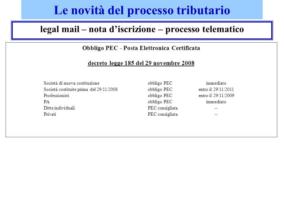 Le novità del processo tributario legal mail – nota discrizione – processo telematico Obbligo PEC - Posta Elettronica Certificata decreto legge 185 de