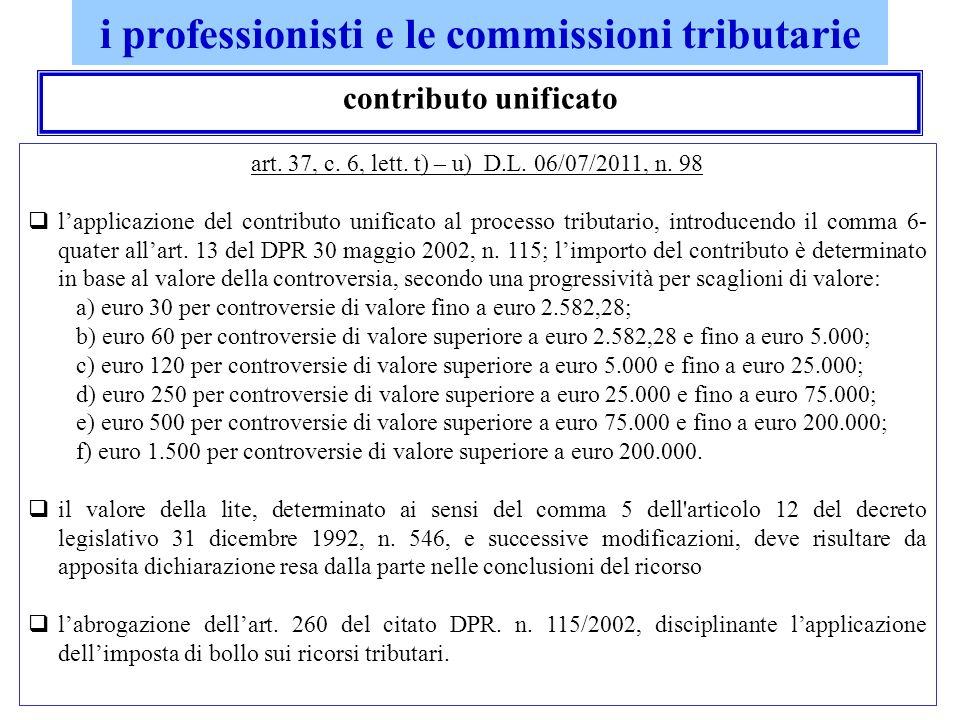 i professionisti e le commissioni tributarie contributo unificato art. 37, c. 6, lett. t) – u) D.L. 06/07/2011, n. 98 lapplicazione del contributo uni
