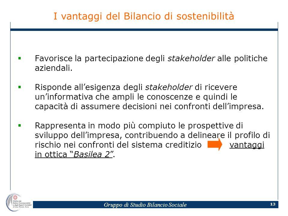 Gruppo di Studio Bilancio Sociale 13 I vantaggi del Bilancio di sostenibilità Favorisce la partecipazione degli stakeholder alle politiche aziendali.