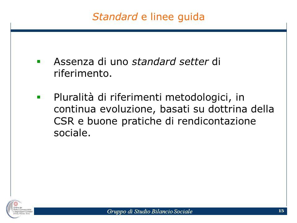 Gruppo di Studio Bilancio Sociale 15 Standard e linee guida Assenza di uno standard setter di riferimento.