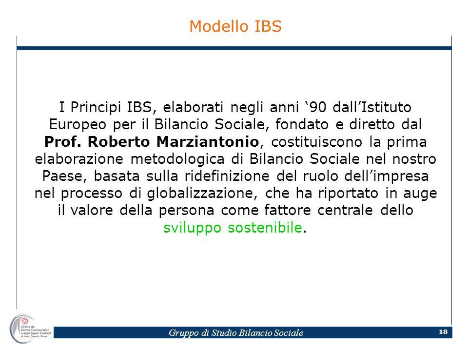 Gruppo di Studio Bilancio Sociale 18 Modello IBS I Principi IBS, elaborati negli anni 90 dallIstituto Europeo per il Bilancio Sociale, fondato e diretto dal Prof.