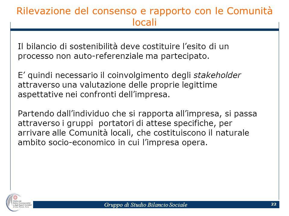 Gruppo di Studio Bilancio Sociale 22 Rilevazione del consenso e rapporto con le Comunità locali Il bilancio di sostenibilità deve costituire lesito di un processo non auto-referenziale ma partecipato.