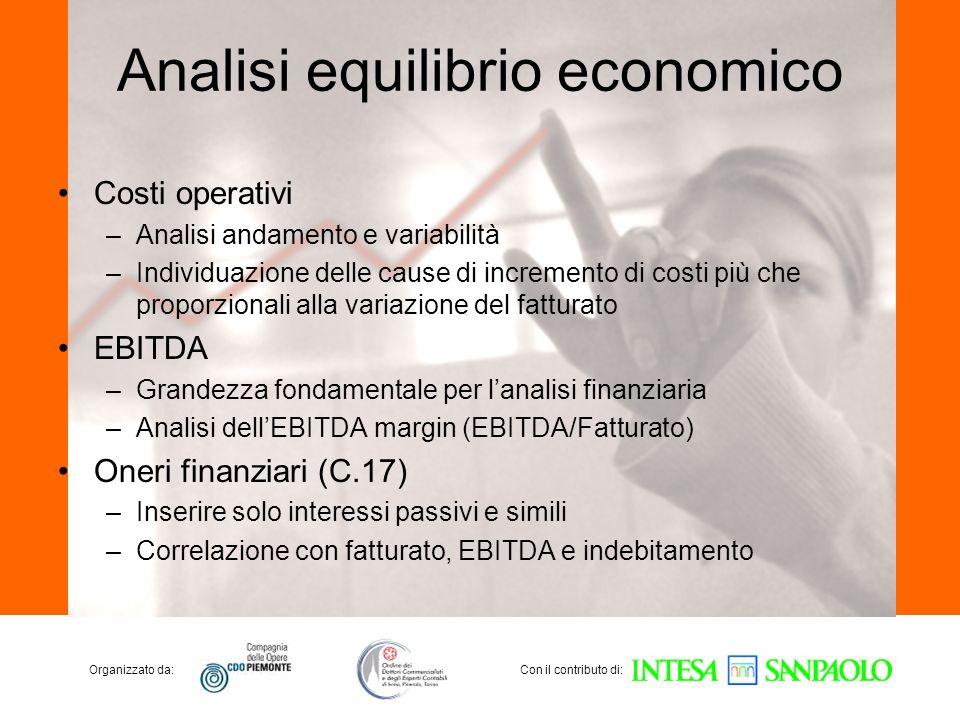Organizzato da:Con il contributo di: Analisi equilibrio economico Costi operativi –Analisi andamento e variabilità –Individuazione delle cause di incr