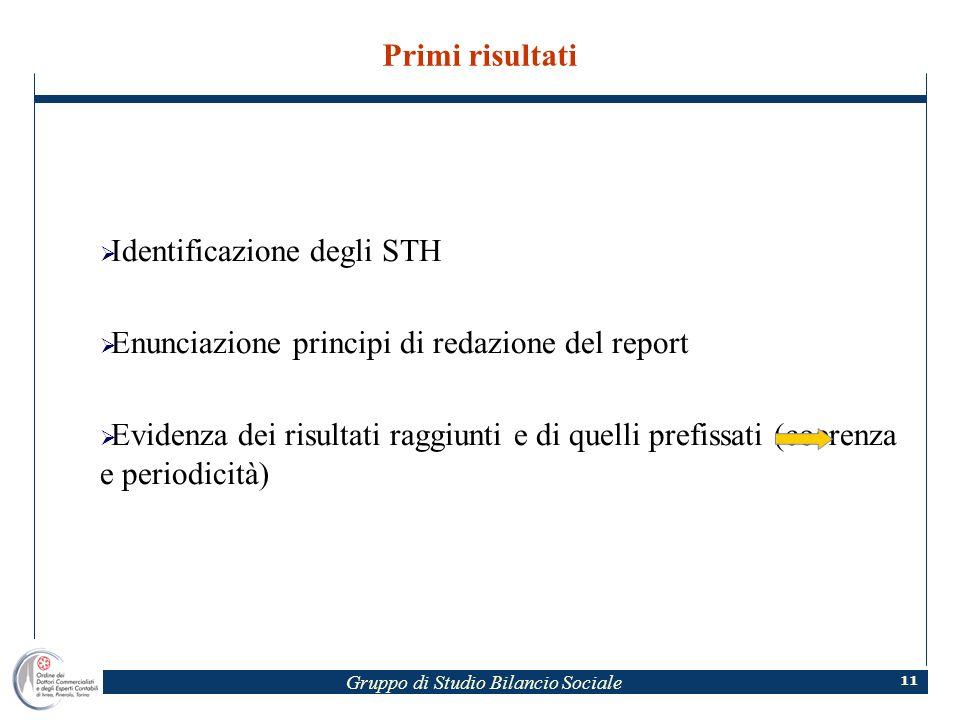 Gruppo di Studio Bilancio Sociale 11 Primi risultati Identificazione degli STH Enunciazione principi di redazione del report Evidenza dei risultati raggiunti e di quelli prefissati (coerenza e periodicità)
