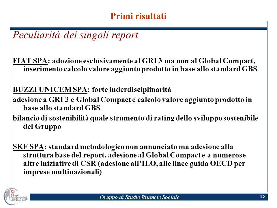 Gruppo di Studio Bilancio Sociale 12 Primi risultati Peculiarità dei singoli report FIAT SPA: adozione esclusivamente al GRI 3 ma non al Global Compac